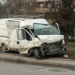 Crushed in car accident transport van